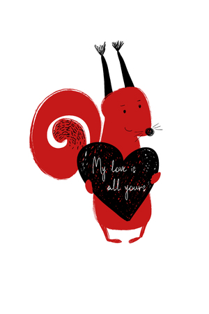 Love greeting card with cute squirrel holding heart. Funny poster or card for birthday, save the day, wedding, Valentines day, anniversary or just for sharing the feelings.