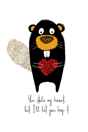 Love greeting card with cute beaver holding heart. Funny poster or card for birthday, save the day, wedding, Valentines day, anniversary or just for sharing the feelings. Illustration