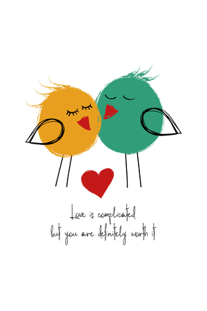 Love greeting card with cute couple of birds. Funny poster or card for birthday, save the day, wedding, Valentines day, anniversary or just for sharing the feelings.