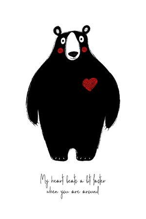 Love greeting card with cute black bear. Funny poster or card for birthday, save the day, wedding, Valentines day, anniversary or just for sharing the feelings.
