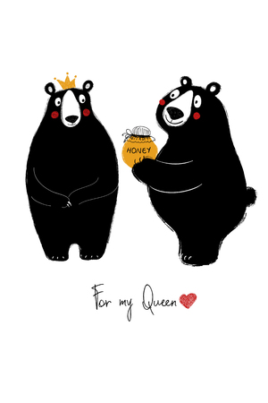 Love greeting card with cute couple of bears. Funny poster or card for birthday, save the day, wedding, Valentine's day, anniversary or just for sharing the feelings. Vettoriali