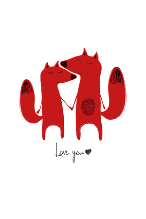 Love greeting card with cute couple of foxes holding hands. Funny poster or card for birthday, save the day, wedding, Valentines day, anniversary or just for sharing the feelings. Illustration