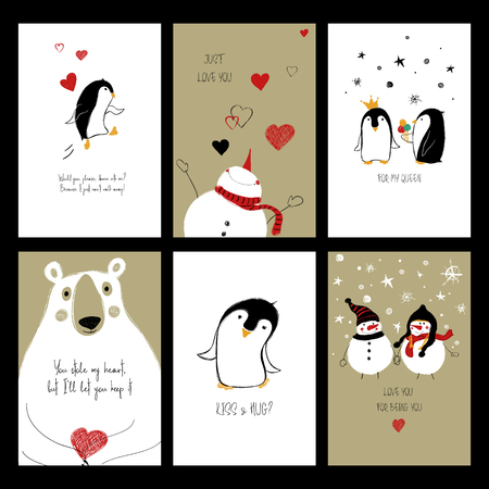 Set of love greeting cards with cute animals and funny touching phrases. Collection of posters or cards for birthday.