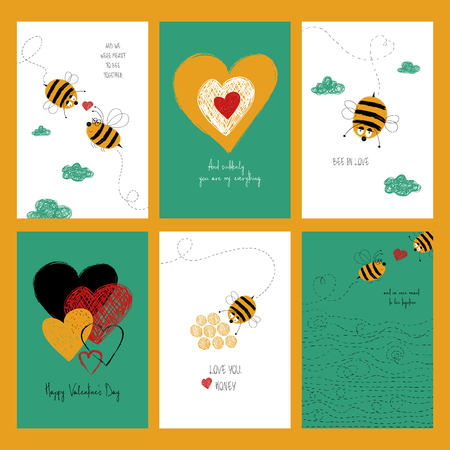 Set of love greeting cards with cute bees and heart. Collection of posters or cards with funny touching phrases for birthday. Ilustração