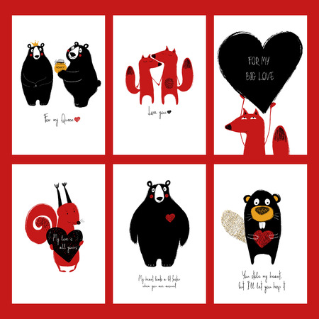 Set of love greeting cards with cute animals and funny touching phrases. Collection of posters or cards for birthday. Banco de Imagens - 92311281