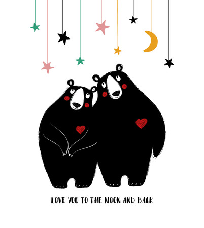 A couple of hugging bears in love. Funny greeting card with phrase: love you to the moon and back.