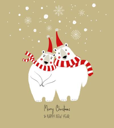 Hand drawn Christmas greeting card with funny couple of polar bears. Stock Vector - 111900771