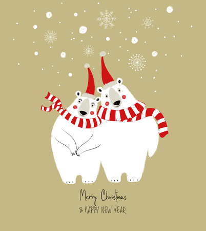 Hand drawn Christmas greeting card with funny couple of polar bears. Illustration
