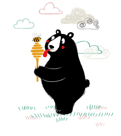 Illustration with cute black bear holding honey dipper and licking it by tongue.