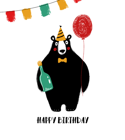 Birthday greeting card with cute black bear holding a red balloon and a bottle.