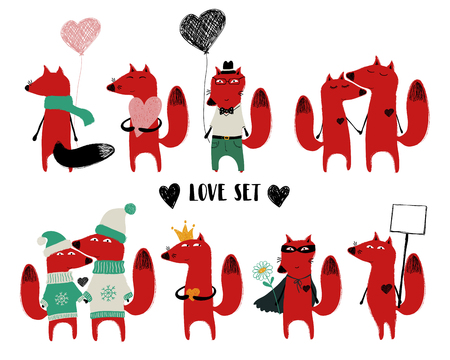 Love set with cute single red fox and couple. Perfect for Valentines day greeting cards, posters, wedding invitation or just some love message. Illustration