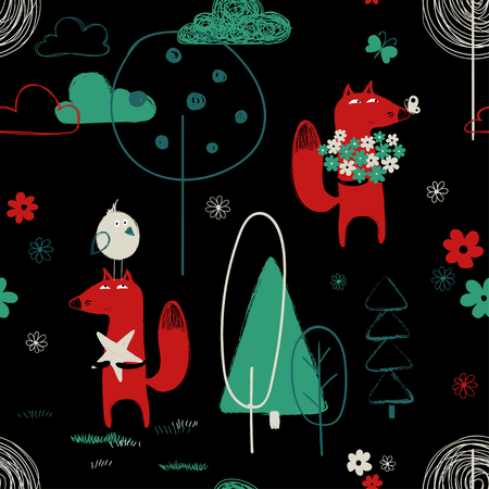 Colorful seamless pattern with cute red fox in the forest. Hand drawn grunge brush background. Banco de Imagens - 106656331