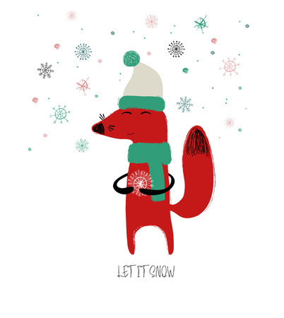Christmas greeting card with cute red fox holding a snowflake and phrase: let it snow. Illustration
