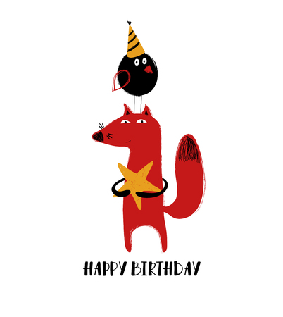 Greeting card or poster with cute red fox holding a star and plump bird in birthday hat standing on the fox head.