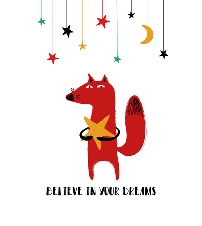 Cute red fox holding a star. Greeting card with inspiring phrase: believe in your dreams.