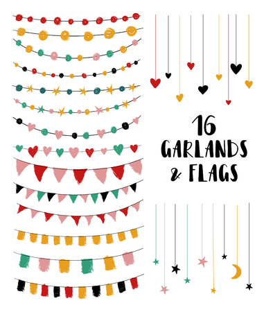 Set of cute brush made party garlands and flags. Perfect for wedding invitations, baby shower, birthday or any greeting cards. Isolated design elements.