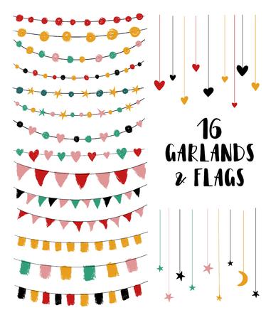 Set van schattige penseel gemaakte feestslingers en vlaggen. Perfect voor huwelijksuitnodigingen, babyshower, verjaardag of wenskaarten. Geïsoleerde ontwerpelementen.