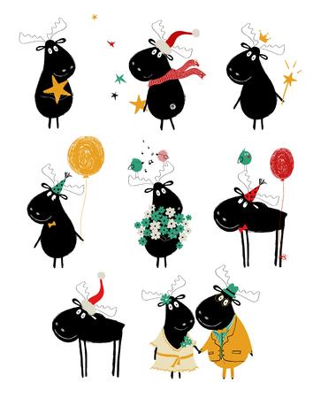 Lustiges Set mit niedlichen schwarzen Elchen. Perfekt für Geburtstagsgrußkarten, Poster, Einladungen oder einfach nur ein paar Liebesbotschaften.
