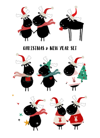 Christmas and New Year set of icons with cute black moose. Perfect for greeting cards or posters. Illustration