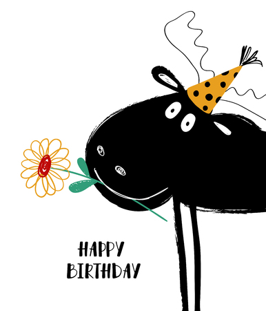 Birthday greeting card with funny close up moose holding in teeth a flower.