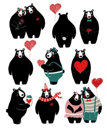 Ensemble d'amour avec un mignon ours noir unique et un couple. Parfait pour les cartes de vœux de la Saint-Valentin, les invitations de mariage ou tout simplement un message d'amour.