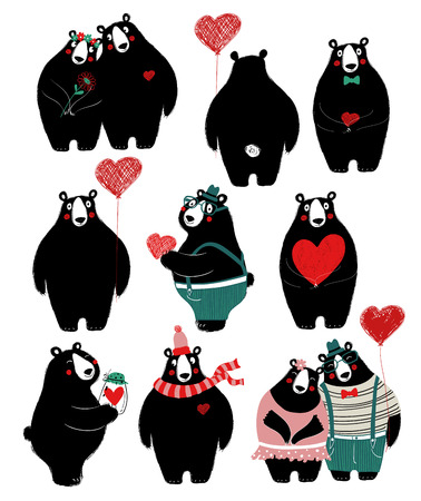 Love set with cute single black bear and couple. Perfect for Valentines day greeting cards, wedding invitation or just some love message.