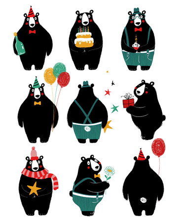 Funny set with cute black bear. Perfect for Birthday greeting cards or just some lovely message. Ilustração