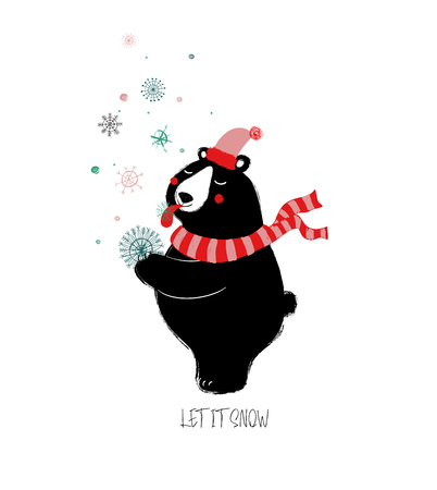 Cute black bear is enjoying the winter snowfall. Greeting card with phrase: let it snow.