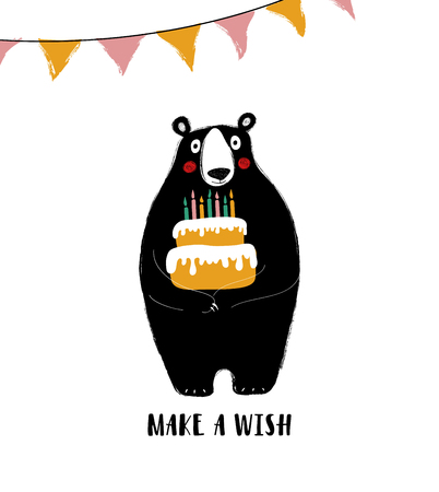 Birthday greeting card with phrase: make a wish. Cute black bear holding a big cake with candles. Illustration