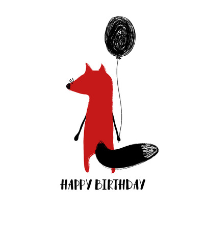 Birthday greeting card or poster with cute red fox turned his back and holding balloon.