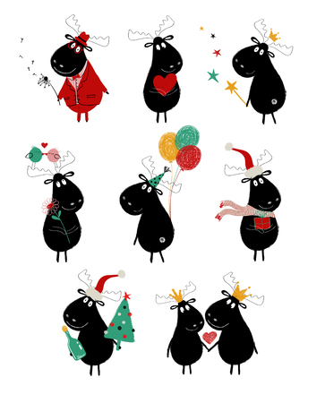 Funny set with cute black moose. Perfect for greeting cards, posters, invitation or just some love messages.