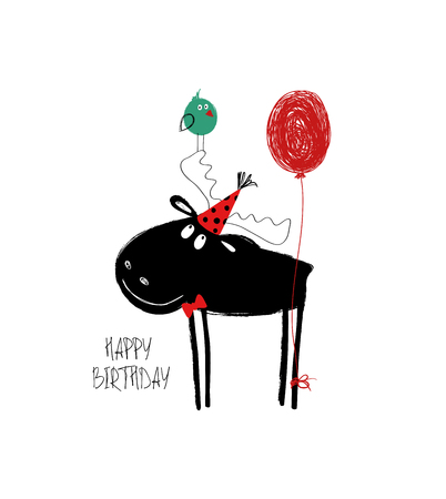 Birthday greeting card with funny black moose and balloon. Illustration