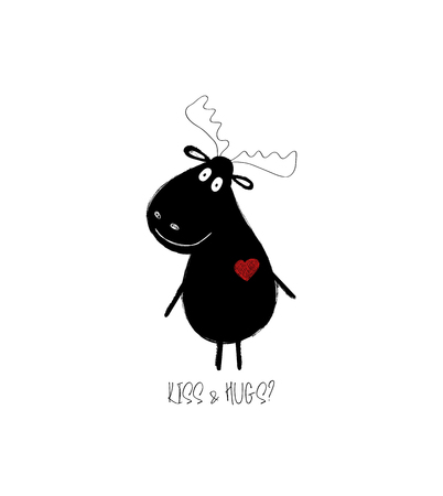 Love greeting card or poster with funny black moose wishing to embrace. Illustration