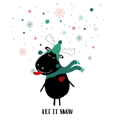 Funny moose in hat and scarf enjoying the winter snow. Christmas greeting card with phrase: let it snow.