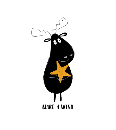 Cute black moose holding a star. Greeting card with inspiring phrase: make a wish. Illustration