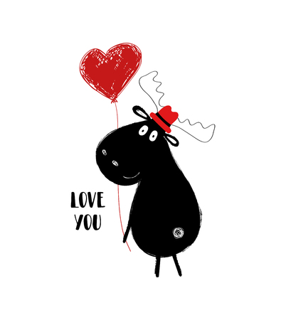 Funny black moose holding a red heart balloon. Love greeting card with phrase: my love is all yours.