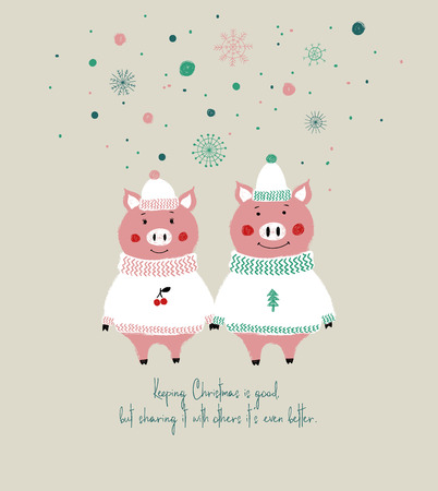 Couple of cute pigs in hats and sweaters. Christmas greeting card with phrase: keeping Christmas is good, but sharing it with others its even better.