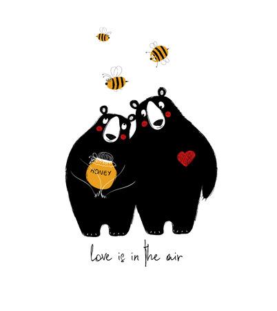 Coppia di simpatici orsetti con miele e api volanti. Biglietto di auguri di amore.