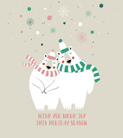 Couple of cute bears in hat and scarf. Christmas or winter greeting card. Banque d'images - 110504265