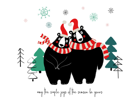 Couple of cute bears in Santa hat and scarf. Christmas or winter greeting card with phrase: may the simple joys of the season be yours.