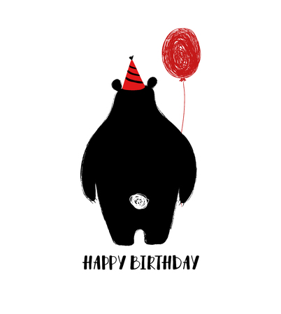 Birthday greeting card with cute black bear turned his back and holding a red balloon. Çizim