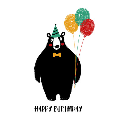 Birthday greeting card with cute black bear holding balloons.