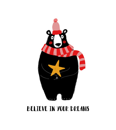 Cute black bear holding a star. Greeting card with inspiring phrase: believe in your dreams.