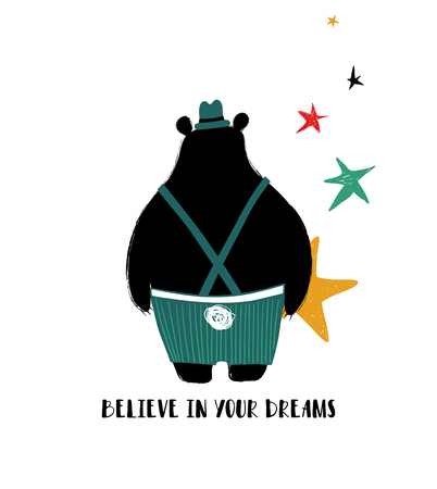 Cute black bear turned his back and holding a star. Greeting card with inspiring phrase: believe in your dreams.