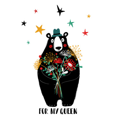 Cute black bear holding a big bouquet of flowers. Birthday or love greeting card with phrase: for my queen.