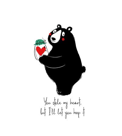 Schattige zwarte beer met een pot met hart. Liefde wenskaart met zin: je hebt mijn hart gestolen, maar ik laat je het houden.