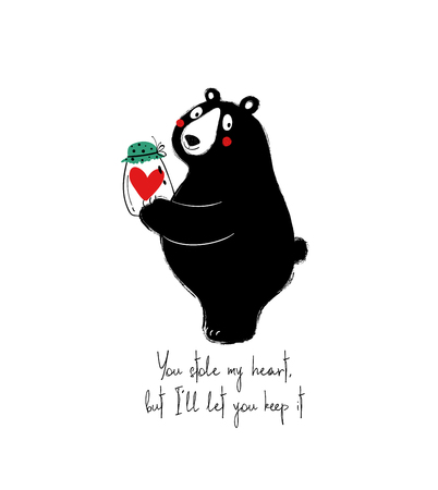 Cute black bear holding a jar with heart. Love greeting card with phrase: you stole my heart, but Ill let you keep it.