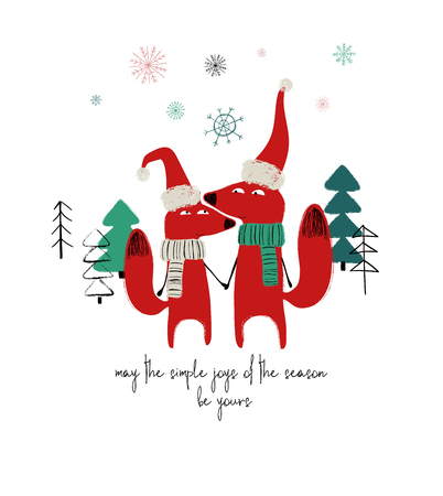 Couple of cute holding hands foxes in Santas hat and scarf. Christmas or winter greeting card with phrase: may the simple joys of the season be yours.