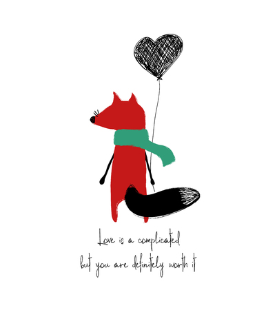 Cute red fox turned his back and holding a heart balloon. Love greeting card with phrase: love is a complicated but you are definitely worth it. Illustration