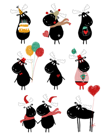 Funny set with cute black moose. Perfect for holiday greeting cards, posters, invitation or just some love messages.
